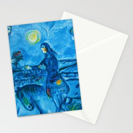 Lovers Over Paris, France landscape painting by Marc Chagall Stationery Cards