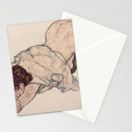 KNEELING GIRL, RESTING ON BOTH ELBOWS - EGON SCHIELE Stationery Cards