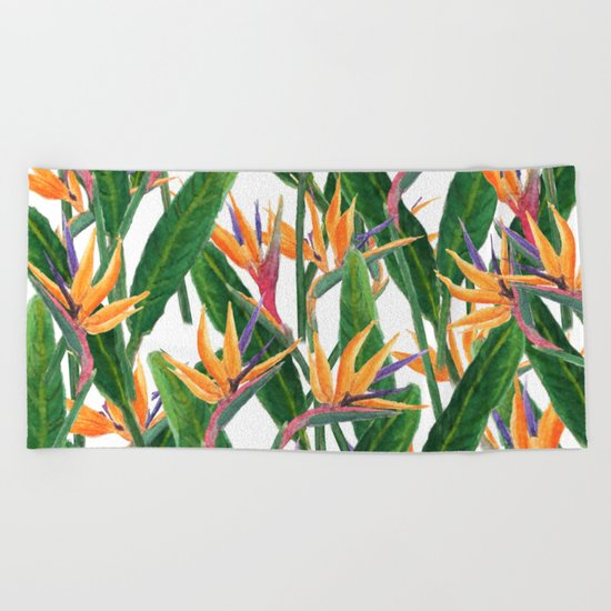 bird of paradise pattern Beach Towel