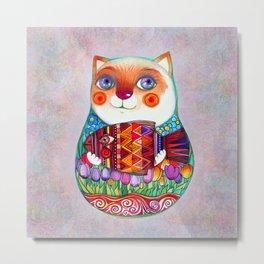 CAT  - Russian  Doll  - Matrioshka-  Artist Oxana Zaika Metal Print