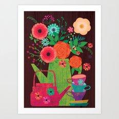Flowers in a coffee pot Art Print