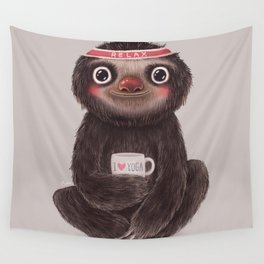 Sloth I♥yoga Wall Tapestry