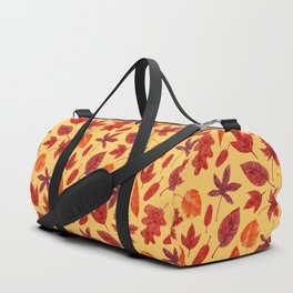 Red autumn leaves watercolor Duffle Bag
