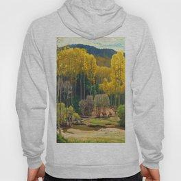 Aspen Trees & Deer, Rocky Mountains Colorado landscape by E. Hennings Hoody