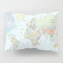 World Atlas & Bathymetry Map [color version] Pillow Sham