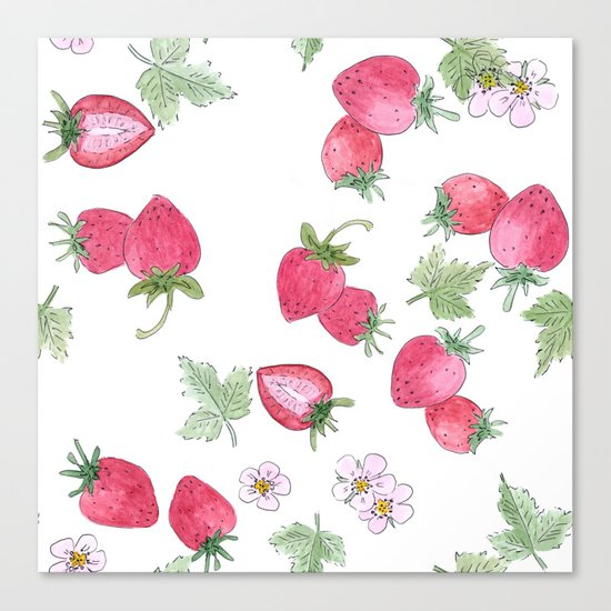 Watercolor . Strawberry on a White background . Canvas Print