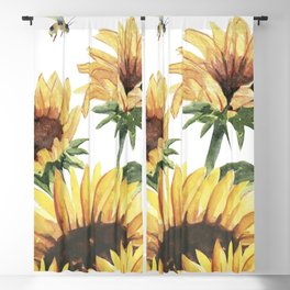 Sunflowers and Honey Bees Blackout Curtain