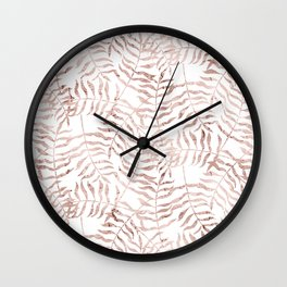 Rose Gold Leaves 1 Wall Clock