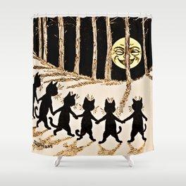 Cats & a Full Moon-Louis Wain Black Cats Shower Curtain