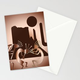 Kokopelli in the Southwest Brown Stationery Cards