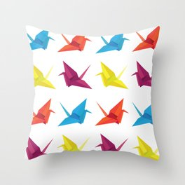 Origami Cranes Pattern Throw Pillow
