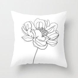 Single flower line drawing - Hazel Throw Pillow