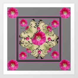CHARCOAL GREY PINK FLOWERS YELLOW BUTTERFLIES Art Print