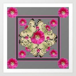 CHARCOAL GREY PINK FLOWERS YELLOW BUTTERFLIES Art Print