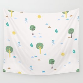 Summer Seamless Pattern with trees, sun, drops of rain, flowers, berries Wall Tapestry