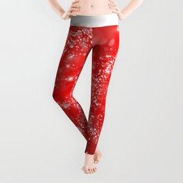 Elegant red white abstract Christmas pattern Leggings