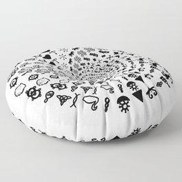 Love Symbol Mandala Black on White Floor Pillow