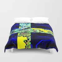 sweden Duvet Covers featuring circuit board Sweden (Flag) by seb mcnulty