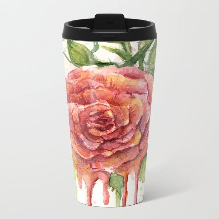 Red Rose Dripping Watercolor Flower Metal Travel Mug