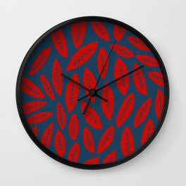 Fall With Me - Red Navy Wall Clock