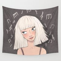 chandelier Wall Tapestries featuring Maddie Ziegler (Chandelier - Elastic Heart) by Joan Pons