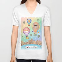 hot air balloon V-neck T-shirts featuring I {❤} Hot Air Balloon by lilycious