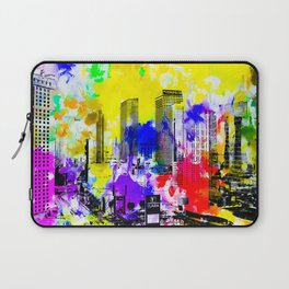 building of the hotel and casino at Las Vegas, USA with blue yellow red green purple painting abstra Laptop Sleeve