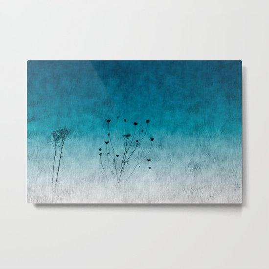 Blue Floral ~ silhouettes Metal Print