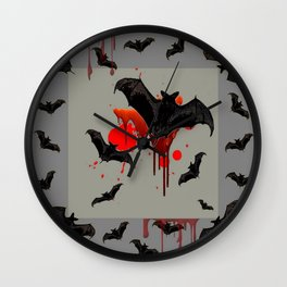 GREY ART OF FLYING BLACK BATS BLOODY  HALLOWEEN PARTY Wall Clock