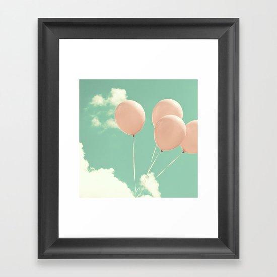 Soft Pink Balloons on Soft Blue - Turquoise Sky  Framed Art Print