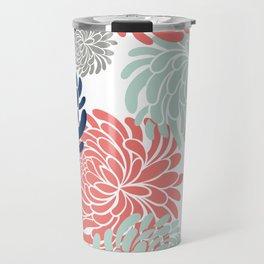 Floral, Chrysanthemums, Coral, Pink, Aqua, Navy, Blue Travel Mug