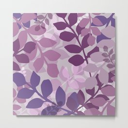 Ultra Violet Purple Lavender Leaves Pattern Metal Print