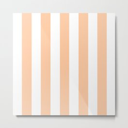 Deep peach pink - solid color - white vertical lines pattern Metal Print