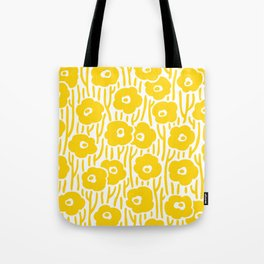 Mid Century Modern Wild Flowers Yellow Tote Bag