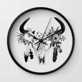 Floral bohemian watercolor animal stag head skull peach pink spiritual boho home wall decor Wall Clock