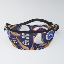 Nautical Marine and Navy Equipment Pattern Fanny Pack