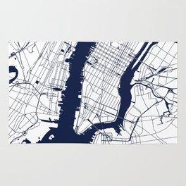 New York City White on Navy Rug