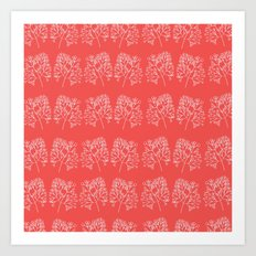 branches red graphic nordic minimal retro Art Print