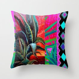 WESTERN DESERT AGAVE TURQUOISE-CERISE PATTERNED ART Throw Pillow