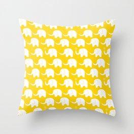 Elephant Parade on Yellow Throw Pillow