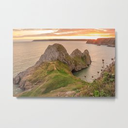 Three Cliffs Bay Beach Gower Sunset Metal Print