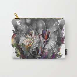 floral wolf skull Carry-All Pouch