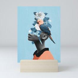 Girl with parrot Mini Art Print