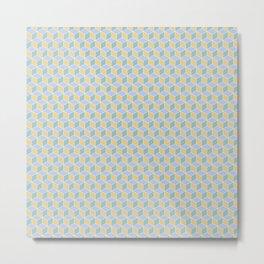 Yellow Sky Blue Cube Pattern Metal Print