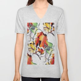 Watercolor Tropical Exotic Orchids  Unisex V-Neck