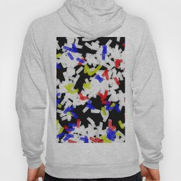 Primary Strokes - Abstract, primary colour & black and white raw paint brush strokes Hoody