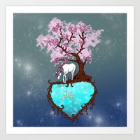 the last unicorn Art Prints featuring Last Unicorn by Astrablink7