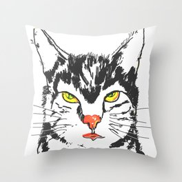 Cat in pink Throw Pillow