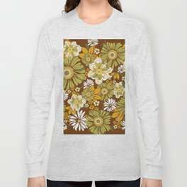 70s Retro Flower Power boho pattern Long Sleeve T-shirt