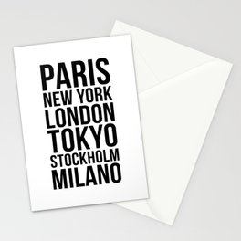 PARIS NEW YORK LONDON TOKYO STOCKHOLM MILANO Quote Stationery Cards
